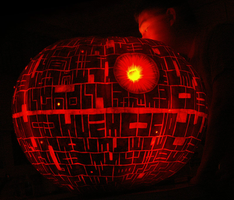 Pumpkin Carving: Deathstar 2008 w/Nephew looking in - Noel