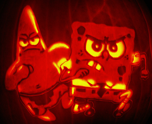 Pumpkin Carving: Patrick and Sponge Bob - Joseph