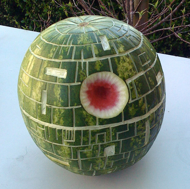 Pumpkin Carving: Deathstar Watermelon carved at FooCamp - Noel