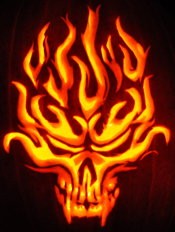 Pumpkin Carving: Flaming Skull - Justin