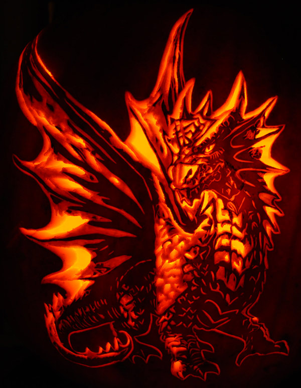 Pumpkin Carving: Anne Stokes' Forest Walk Dragon - Noel