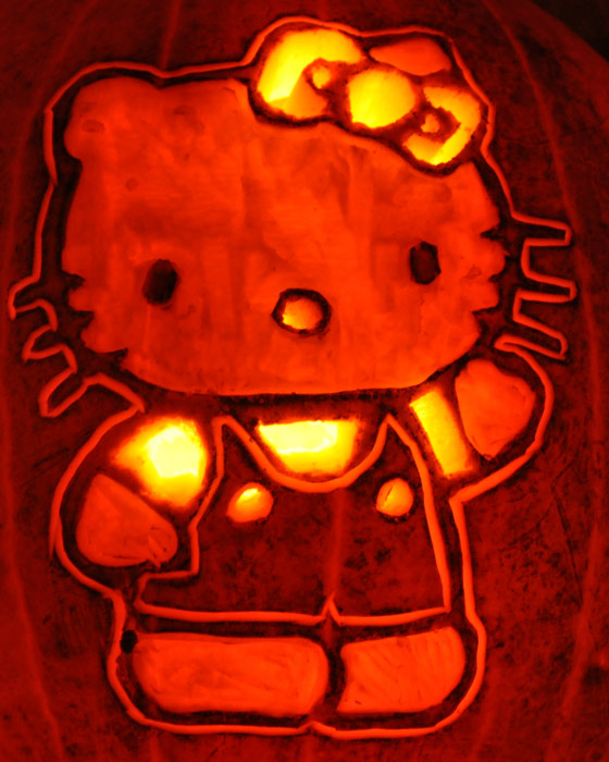 Pumpkin Carving: Hello Kitty