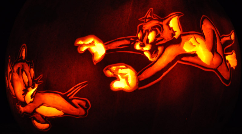 Pumpkin Carving: Tom and Jerry - Sarah