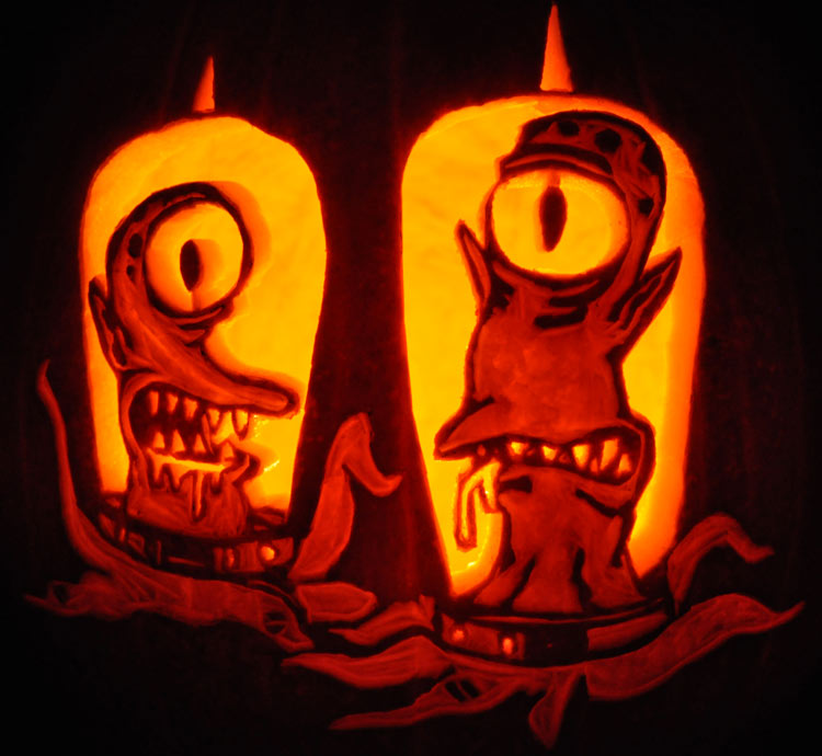 Pumpkin Carving: Kang and Kodos - Nam and Sarah