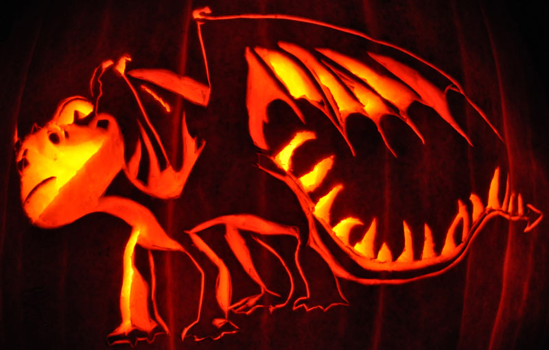 Pumpkin Carving: Green Terror - How to Train your Dragon - Sarah