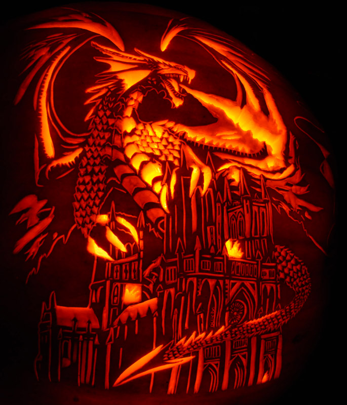 Pumpkin Carving: Anne Stokes' Dragon Fury - Noel