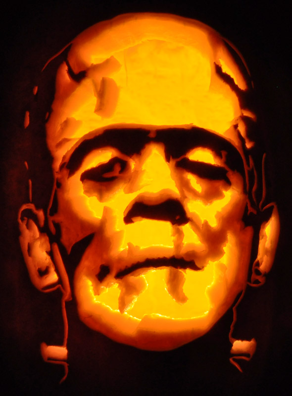 The pumpkin wizard o view topic noel39s 2011 carvings for Frankenstein pumpkin carving