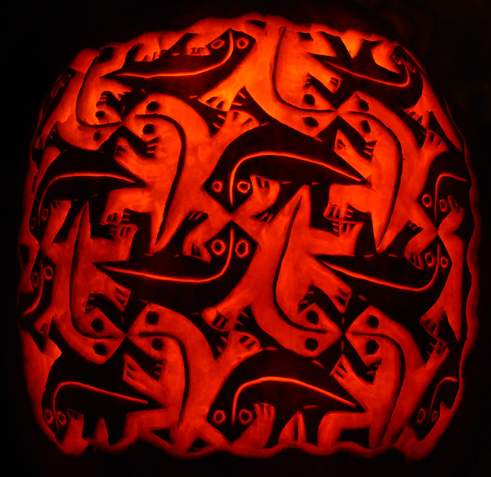Pumpkin Carving: MC Escher Lizards - Noel