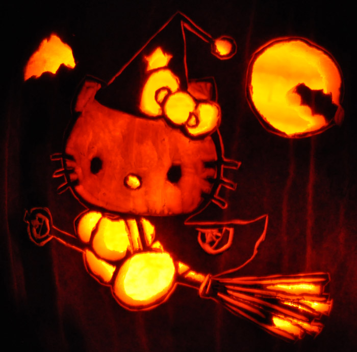 Pumpkin Carving: Hello Kitty - Sarah