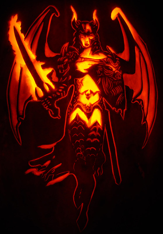L Pumpkin Carving Demon Sword Maiden